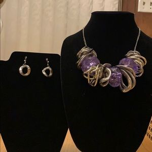 Silver and purple necklace and earrings set